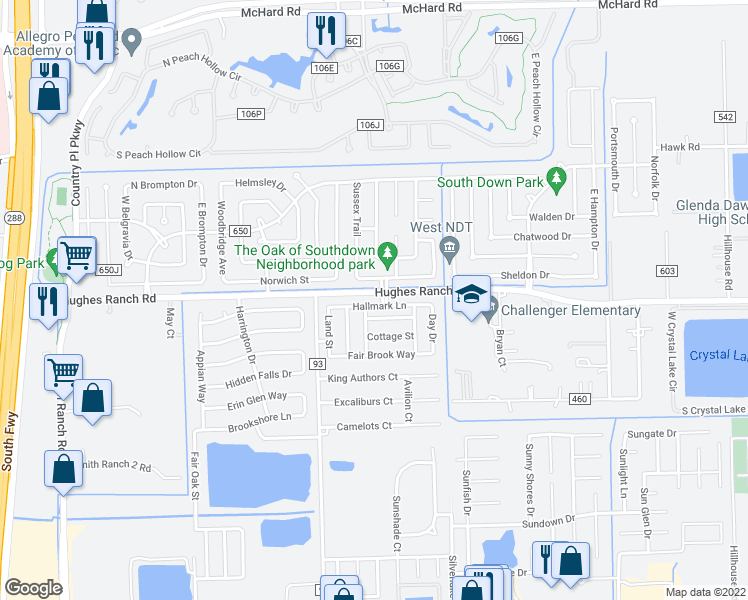 map of restaurants, bars, coffee shops, grocery stores, and more near 9717 Hallmark Lane in Pearland