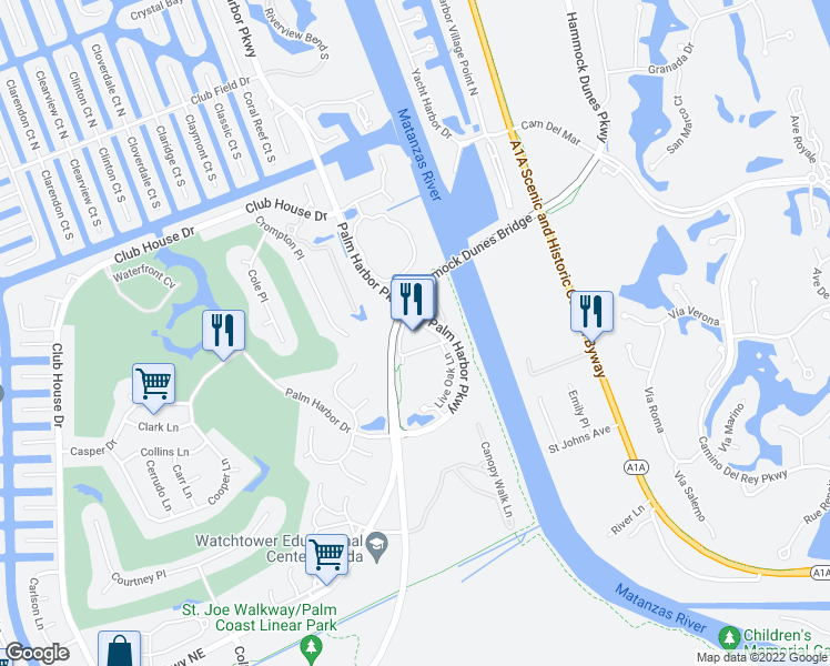 map of restaurants, bars, coffee shops, grocery stores, and more near 101 Palm Harbor Parkway in Palm Coast