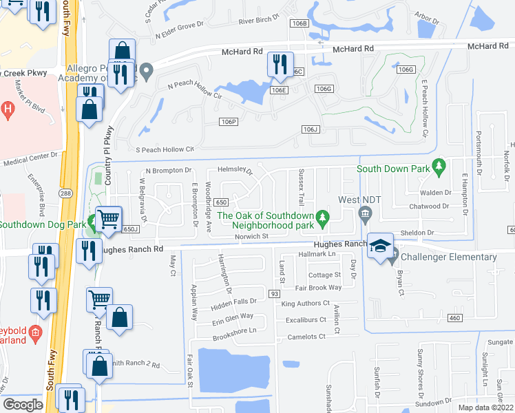 map of restaurants, bars, coffee shops, grocery stores, and more near 3046 Sherborne Street in Pearland