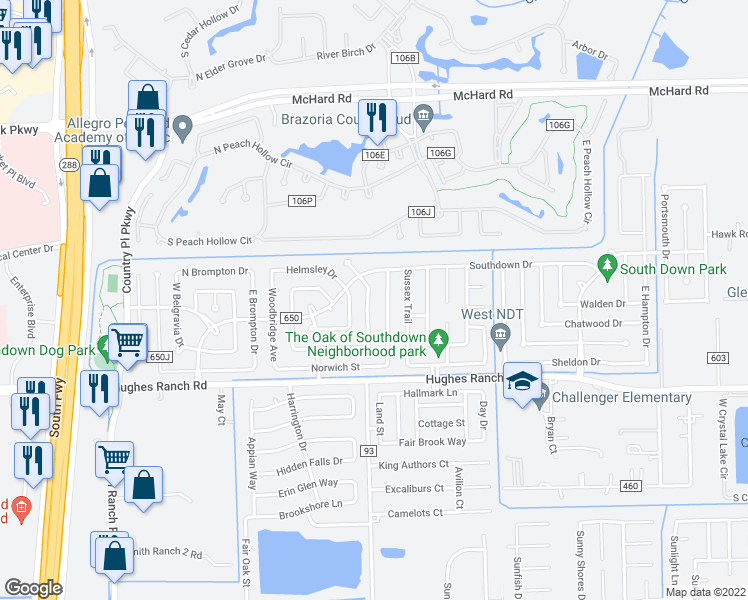 map of restaurants, bars, coffee shops, grocery stores, and more near 1018 Oxford Drive in Pearland