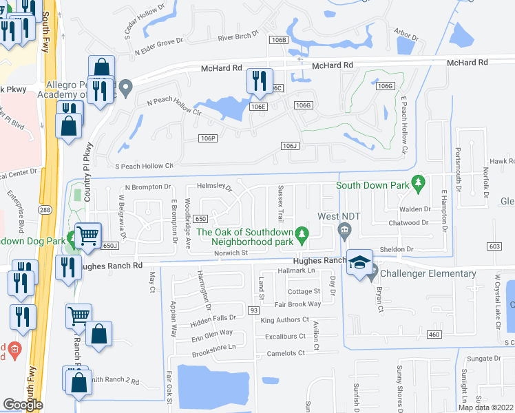 map of restaurants, bars, coffee shops, grocery stores, and more near 1018-1022 Oxford Drive in Pearland