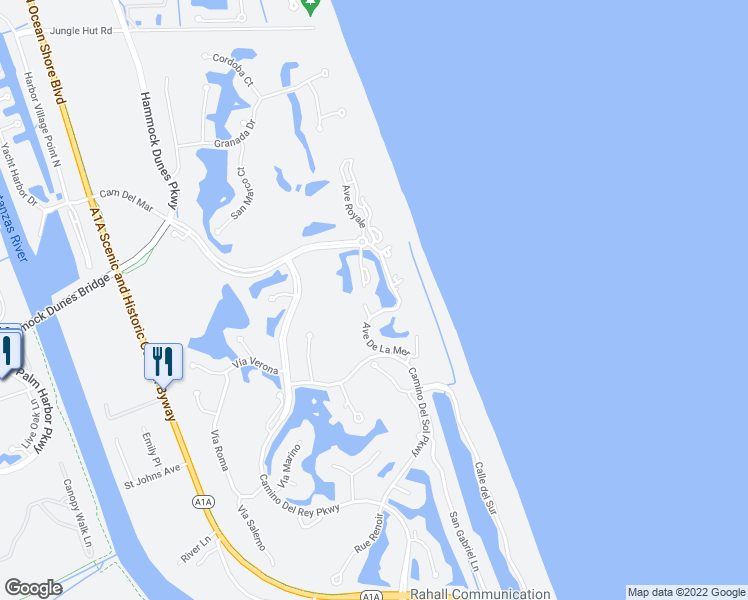 map of restaurants, bars, coffee shops, grocery stores, and more near 30 Casa Bella Circle in Palm Coast