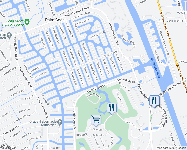 map of restaurants, bars, coffee shops, grocery stores, and more near 18 Cloverdale Court South in Palm Coast