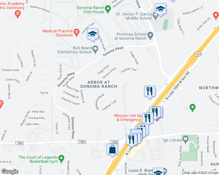 map of restaurants, bars, coffee shops, grocery stores, and more near 8711 Feather Trail in Helotes