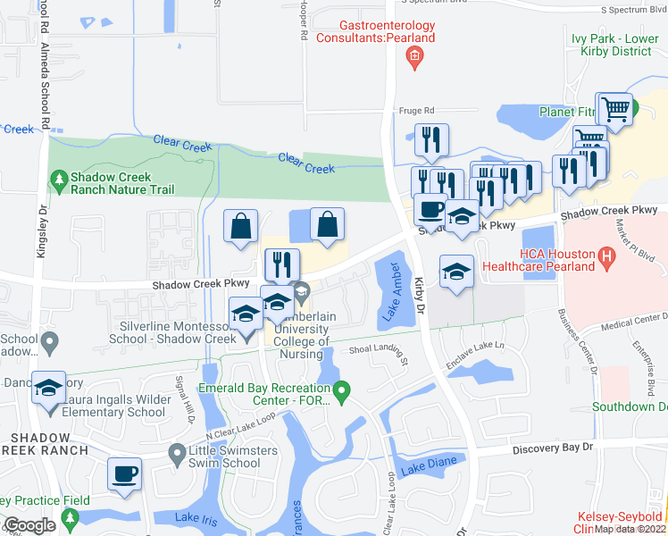 map of restaurants, bars, coffee shops, grocery stores, and more near 11900 Shadow Creek Parkway in Pearland
