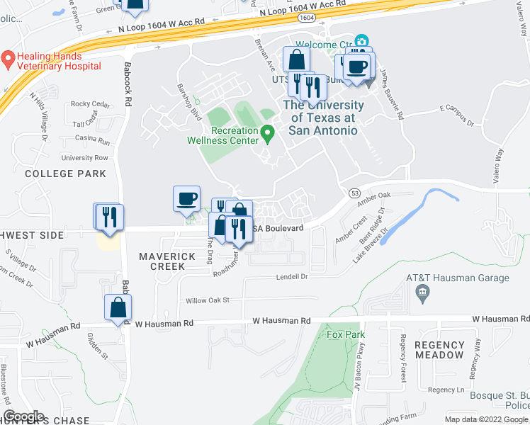 map of restaurants, bars, coffee shops, grocery stores, and more near 6685 UTSA Boulevard in San Antonio