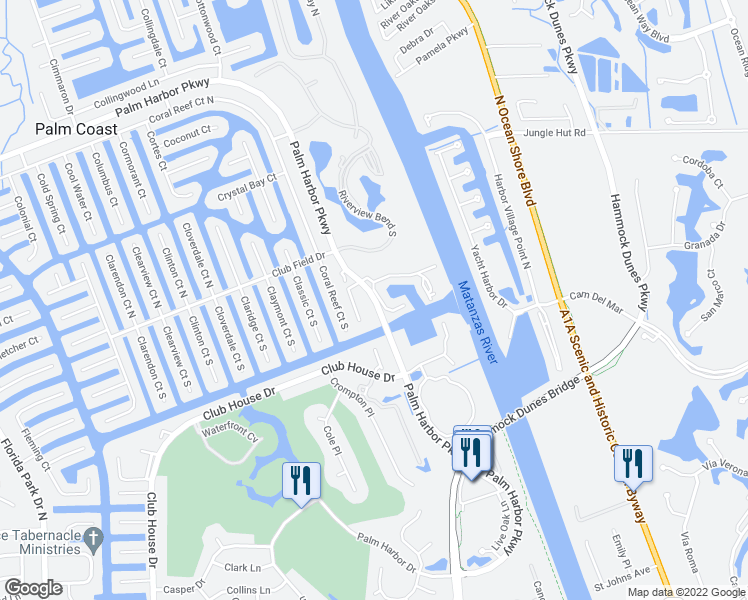 map of restaurants, bars, coffee shops, grocery stores, and more near 26-98 Marina Point Place in Palm Coast