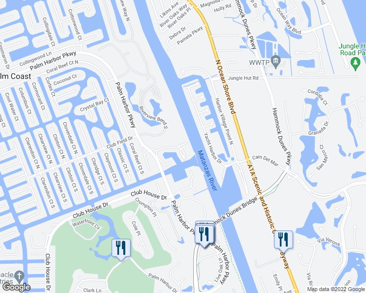 map of restaurants, bars, coffee shops, grocery stores, and more near 101 Rivers Edge Lane in Palm Coast