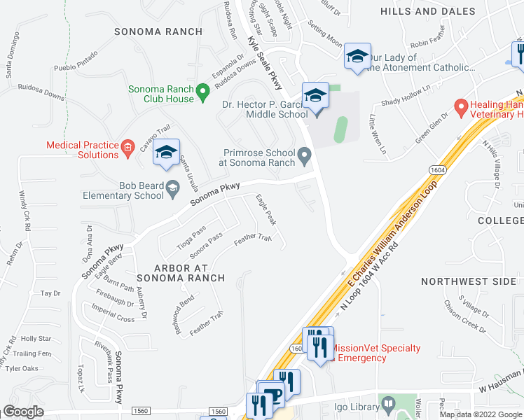 map of restaurants, bars, coffee shops, grocery stores, and more near 8206 Eagle Peak in Helotes