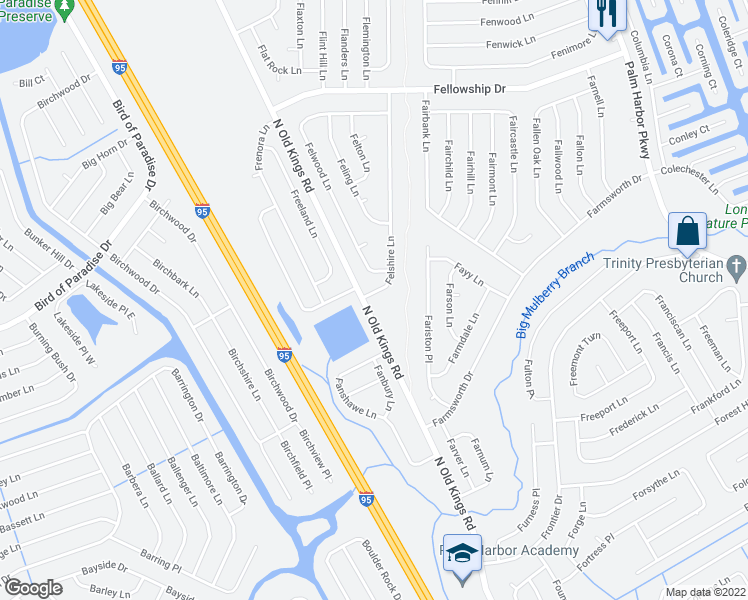 map of restaurants, bars, coffee shops, grocery stores, and more near 2 Felshire Lane in Palm Coast