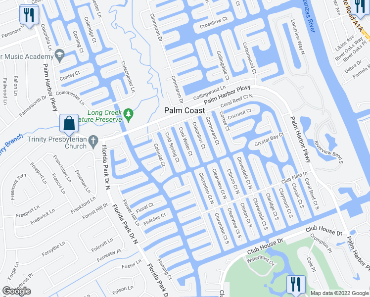 map of restaurants, bars, coffee shops, grocery stores, and more near 28 Cool Water Court in Palm Coast