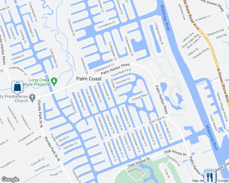 map of restaurants, bars, coffee shops, grocery stores, and more near 30 Cortes Ct in Palm Coast