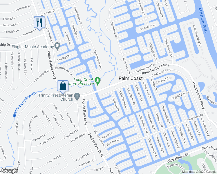 map of restaurants, bars, coffee shops, grocery stores, and more near Palm Harbor Parkway in Palm Coast