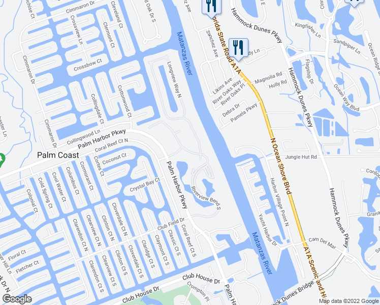map of restaurants, bars, coffee shops, grocery stores, and more near 2-18 Riverview Bend South in Palm Coast