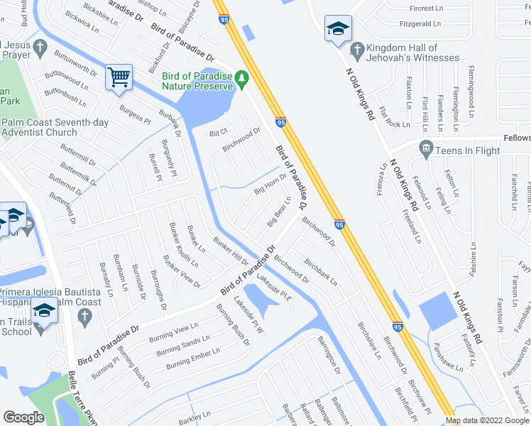 map of restaurants, bars, coffee shops, grocery stores, and more near 12 Big Dipper Lane in Palm Coast