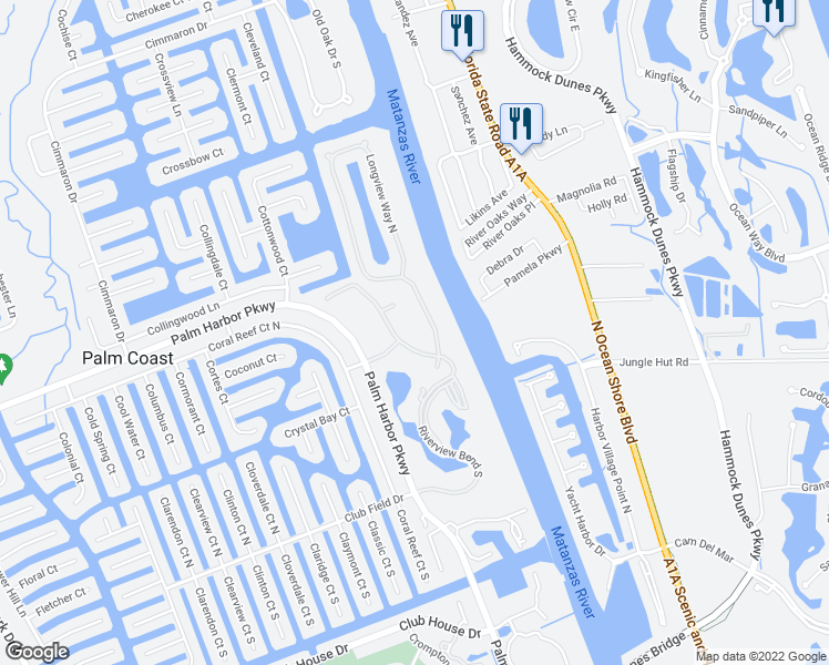 map of restaurants, bars, coffee shops, grocery stores, and more near 5 Riverview Bend South in Palm Coast