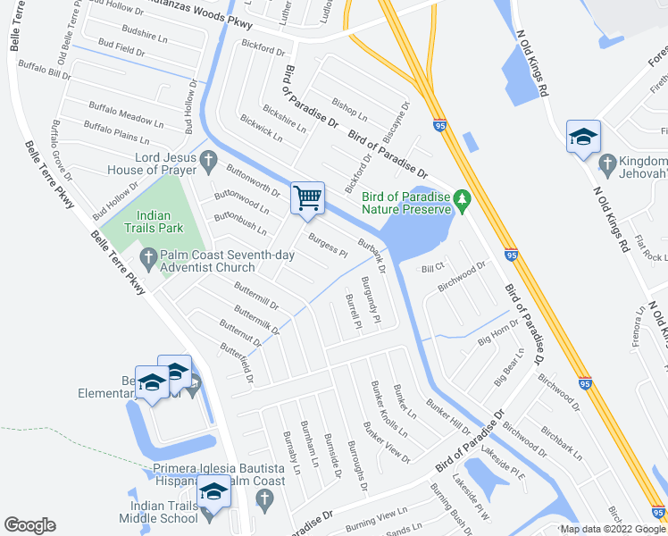 map of restaurants, bars, coffee shops, grocery stores, and more near 17 Burland Place in Palm Coast