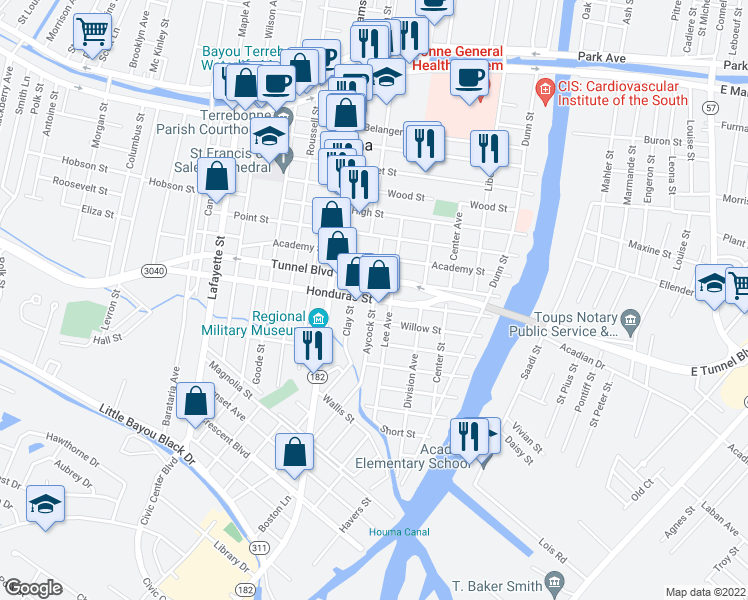 map of restaurants, bars, coffee shops, grocery stores, and more near Aycock Street in Houma