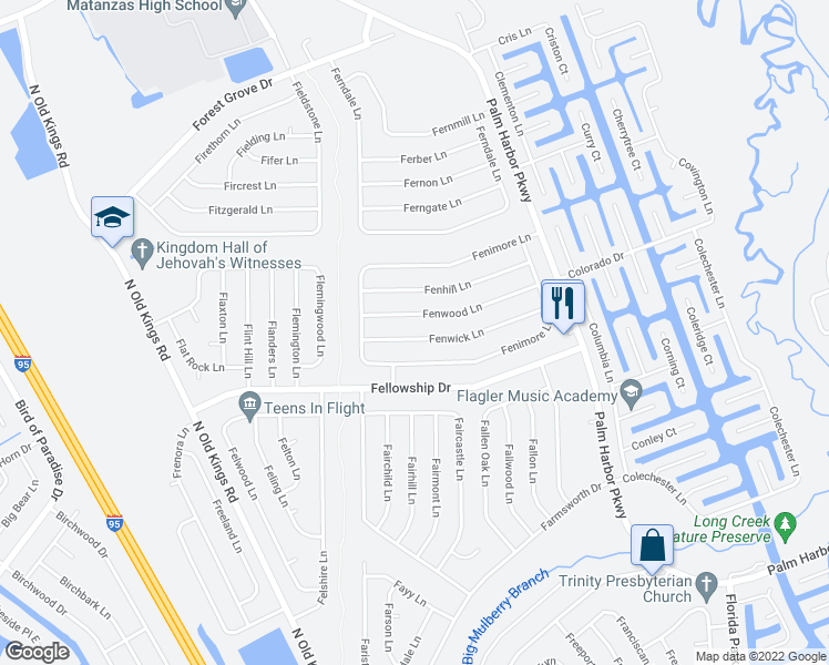 map of restaurants, bars, coffee shops, grocery stores, and more near 40 Fenwick Lane in Palm Coast
