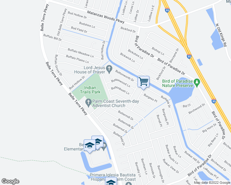 map of restaurants, bars, coffee shops, grocery stores, and more near 16 Buttonwell Lane in Palm Coast