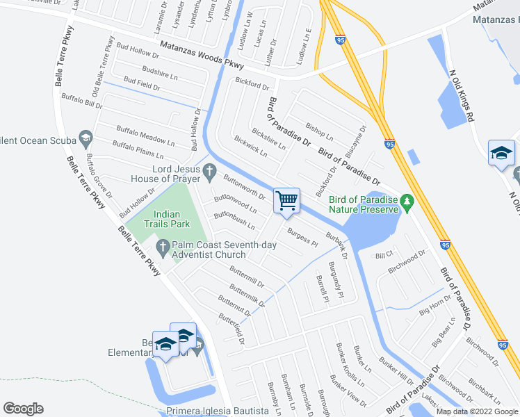 map of restaurants, bars, coffee shops, grocery stores, and more near 6 Buttonwood Lane in Palm Coast