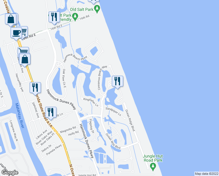 map of restaurants, bars, coffee shops, grocery stores, and more near 101 Ocean Way North in Palm Coast