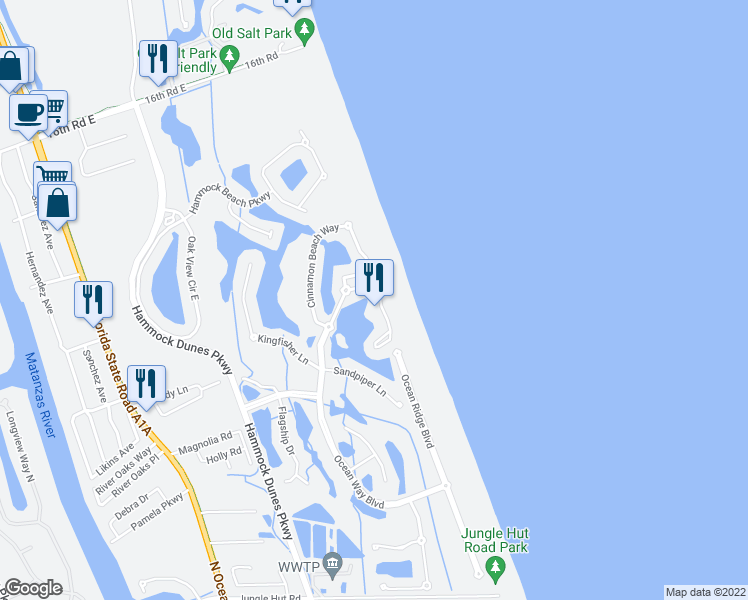 map of restaurants, bars, coffee shops, grocery stores, and more near 517 Cinnamon Beach Lane in Palm Coast