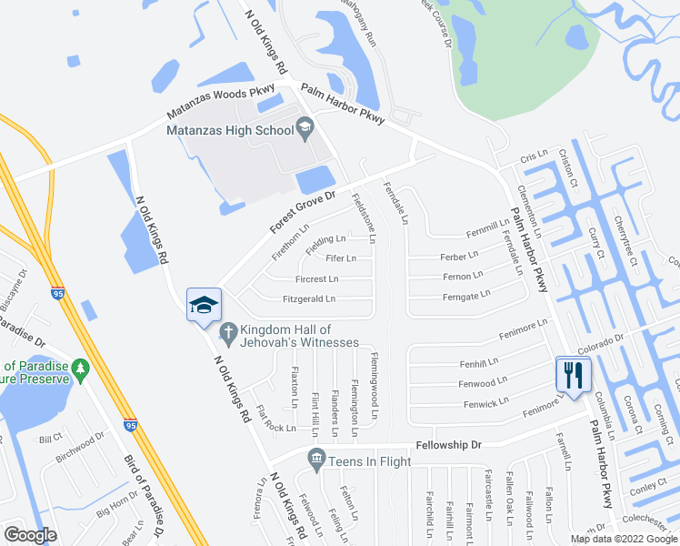 map of restaurants, bars, coffee shops, grocery stores, and more near 7 Fifer Lane in Palm Coast