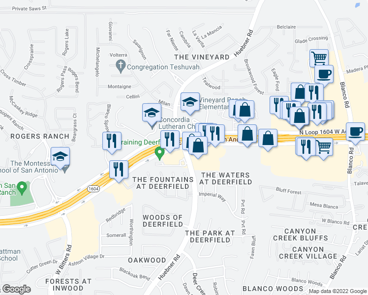 map of restaurants, bars, coffee shops, grocery stores, and more near Charles West Anderson Loop in San Antonio