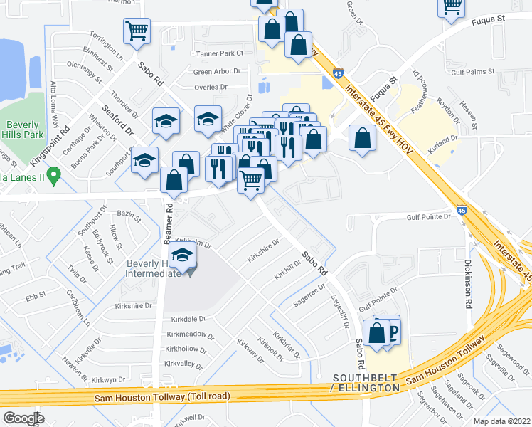 map of restaurants, bars, coffee shops, grocery stores, and more near Sabo Rd in Houston
