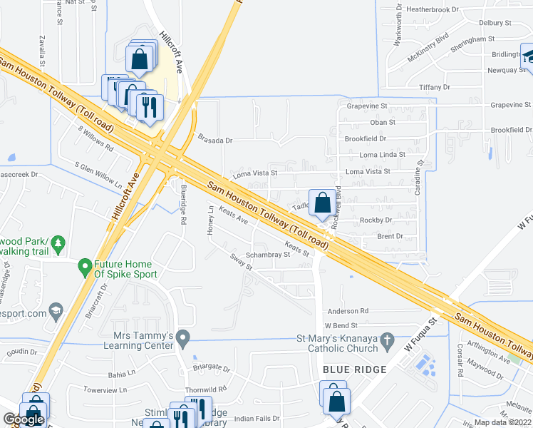 map of restaurants, bars, coffee shops, grocery stores, and more near 13801 Sam Houston Tollway in Houston