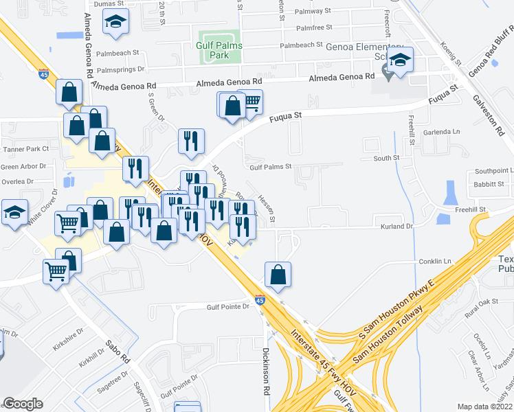 map of restaurants, bars, coffee shops, grocery stores, and more near 12801 Roydon Drive in Houston