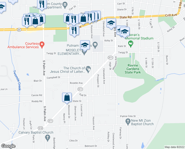 map of restaurants, bars, coffee shops, grocery stores, and more near Husson Avenue in Palatka