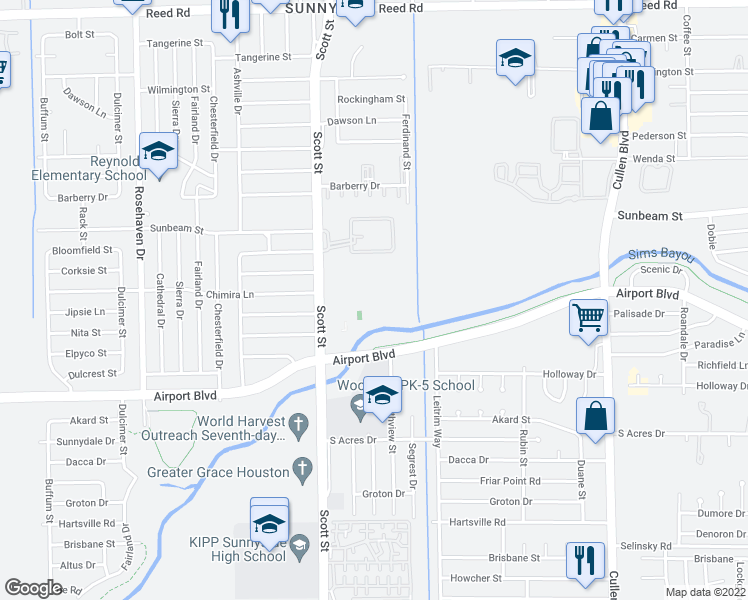 map of restaurants, bars, coffee shops, grocery stores, and more near 10401 Scott St in Houston