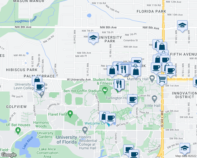 map of restaurants, bars, coffee shops, grocery stores, and more near W University Ave & Gale Lemerand Dr in Gainesville