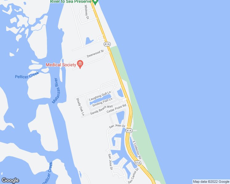 map of restaurants, bars, coffee shops, grocery stores, and more near 26 Beach Haven Parkway in Palm Coast