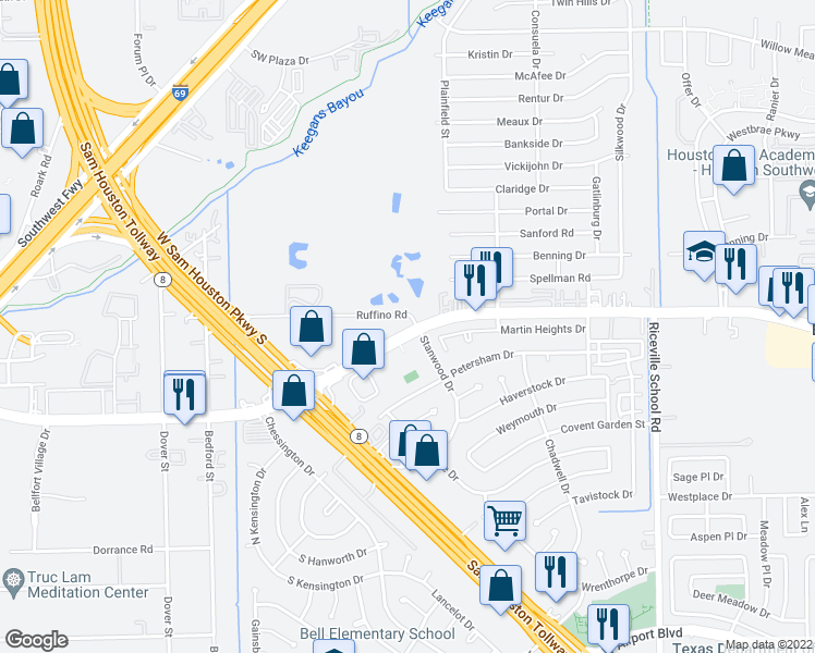 map of restaurants, bars, coffee shops, grocery stores, and more near 10910 South Gessner Road in Houston