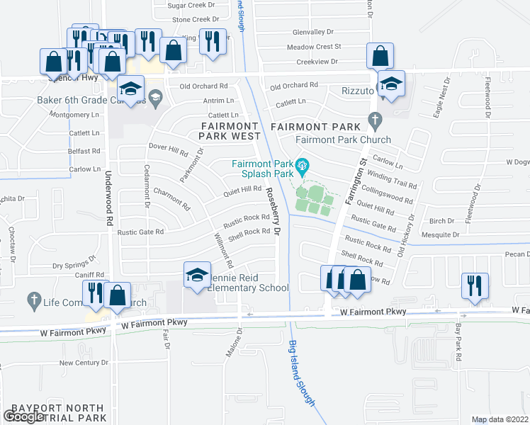 map of restaurants, bars, coffee shops, grocery stores, and more near 10131 Rustic Rock Road in La Porte