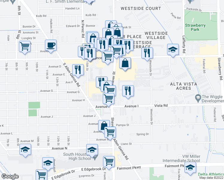 map of restaurants, bars, coffee shops, grocery stores, and more near 3349-3377 Shaver Street in Pasadena
