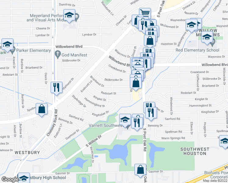 map of restaurants, bars, coffee shops, grocery stores, and more near 5042 Redstart Street in Houston