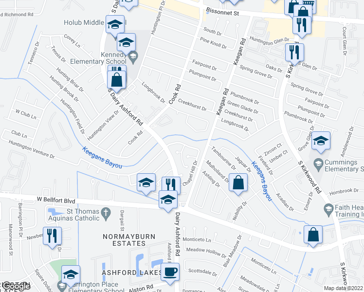 map of restaurants, bars, coffee shops, grocery stores, and more near 12155 Huntington Venture Drive in Houston