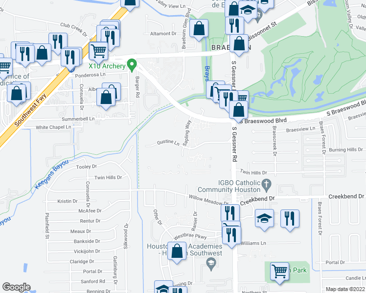 map of restaurants, bars, coffee shops, grocery stores, and more near 10083-10123 Sapling Way in Houston