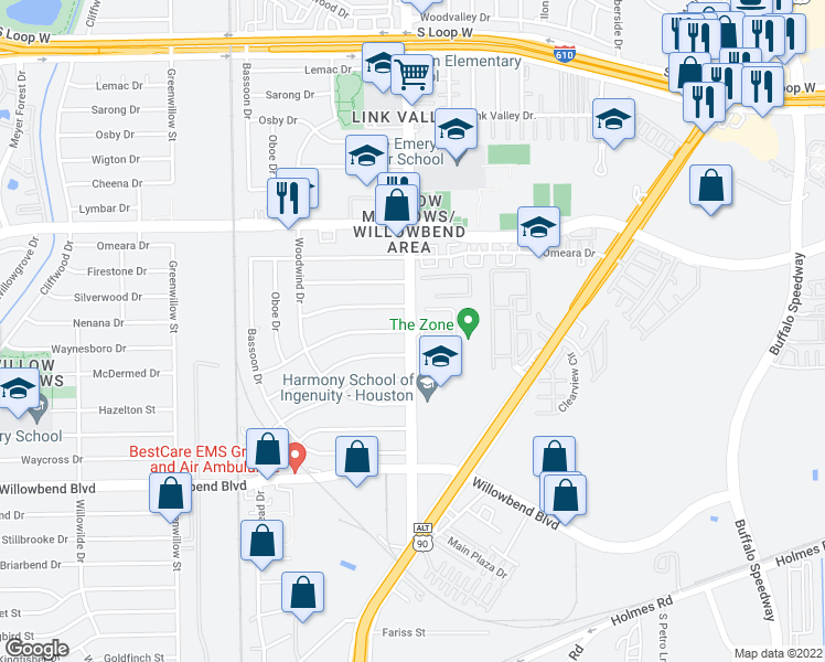 map of restaurants, bars, coffee shops, grocery stores, and more near Stella Link Rd & Mcdermed Dr in Houston