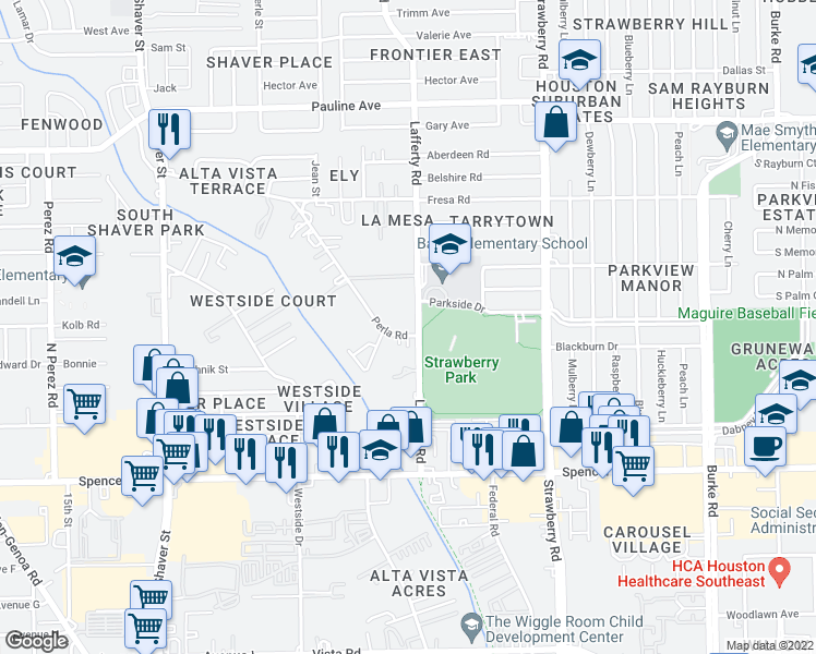 map of restaurants, bars, coffee shops, grocery stores, and more near 2730 Lafferty Road in Pasadena
