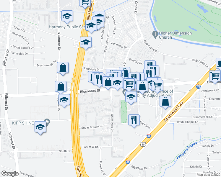 map of restaurants, bars, coffee shops, grocery stores, and more near Bissonnet St & Forum Park Dr in Houston