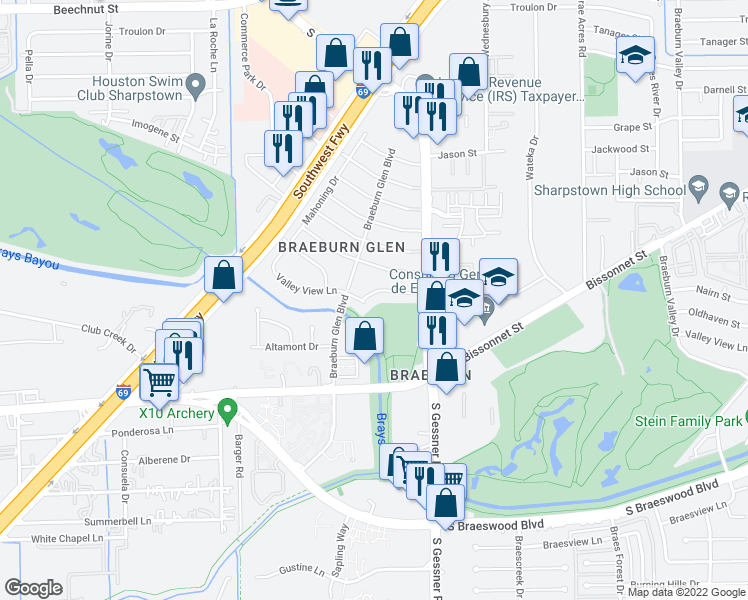 map of restaurants, bars, coffee shops, grocery stores, and more near 8719 Nairn Street in Houston
