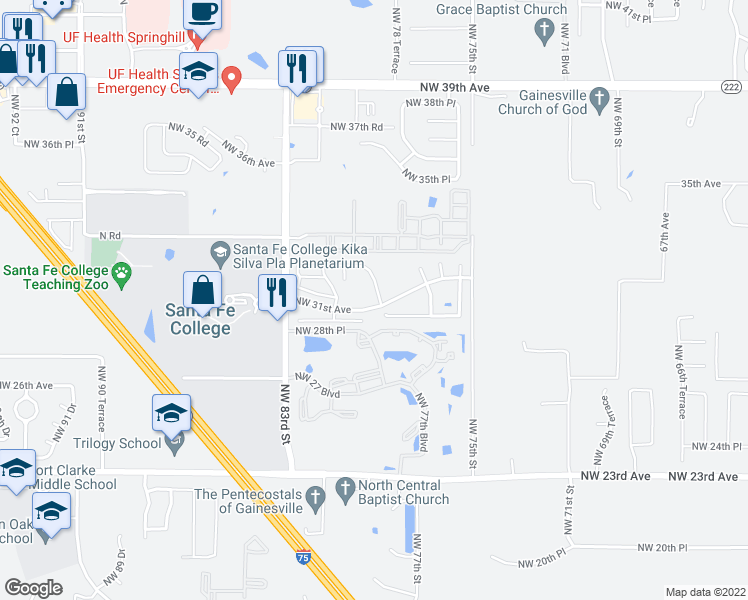 map of restaurants, bars, coffee shops, grocery stores, and more near 3002 NW 79th Ct in Gainesville