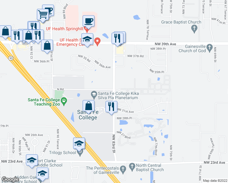 map of restaurants, bars, coffee shops, grocery stores, and more near 3205 Northwest 83 Street in Gainesville