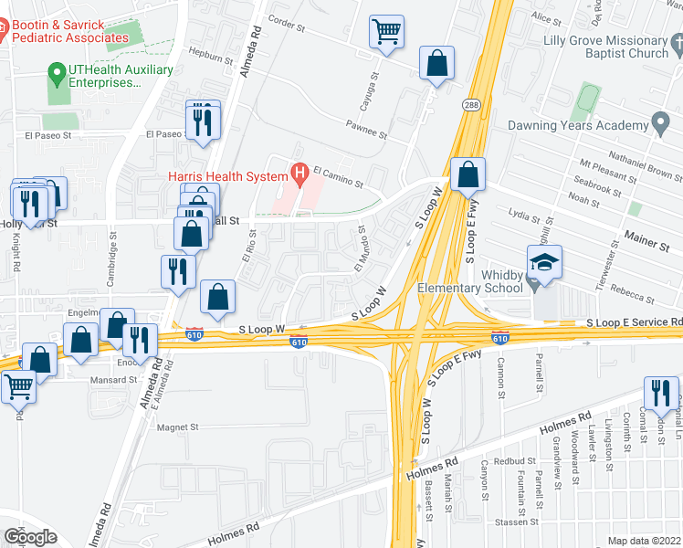 map of restaurants, bars, coffee shops, grocery stores, and more near El Mundo Street in Houston