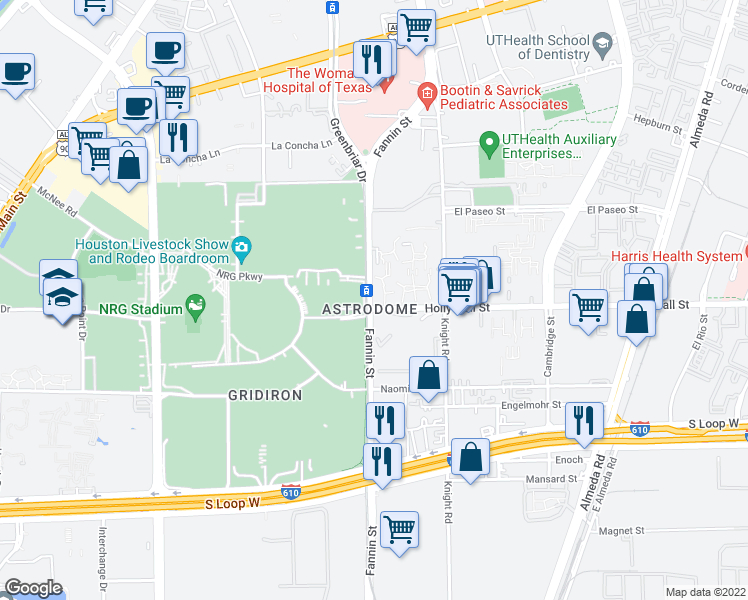 map of restaurants, bars, coffee shops, grocery stores, and more near 8301-8337 Fannin Street in Houston